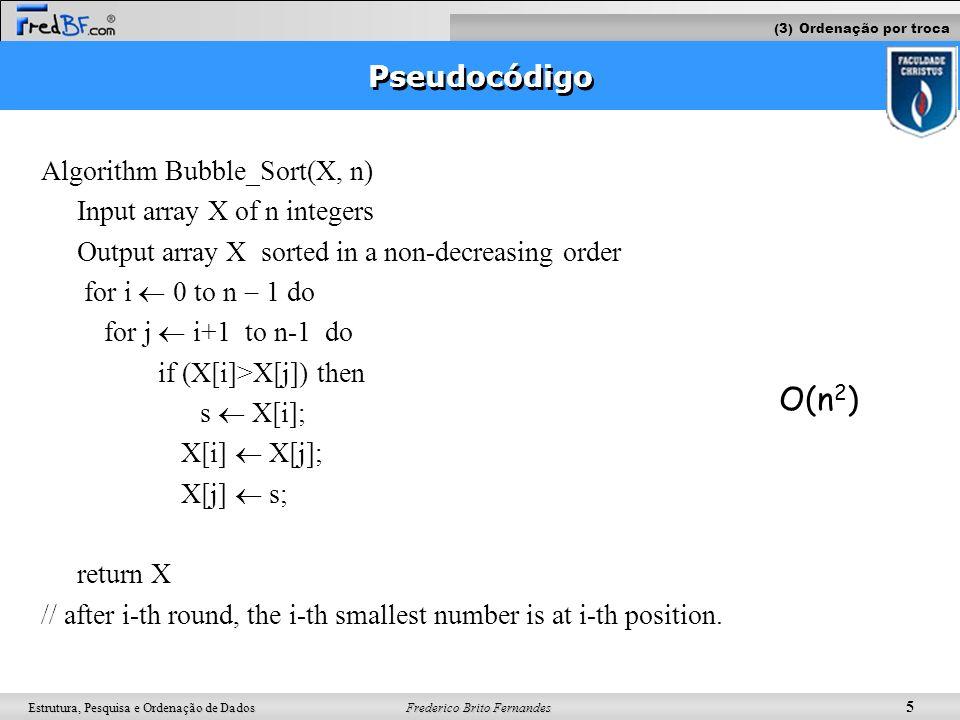 Frederico Brito Fernandes 5 Estrutura, Pesquisa e Ordenação de Dados Pseudocódigo Algorithm Bubble_Sort(X, n) Input array X of n integers Output array