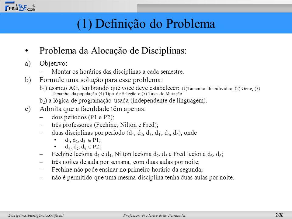Professor: Frederico Brito Fernandes 2/X Disciplina: Inteligência Artificial (1) Definição do Problema Problema da Alocação de Disciplinas: a)Objetivo: –Montar os horários das disciplinas a cada semestre.