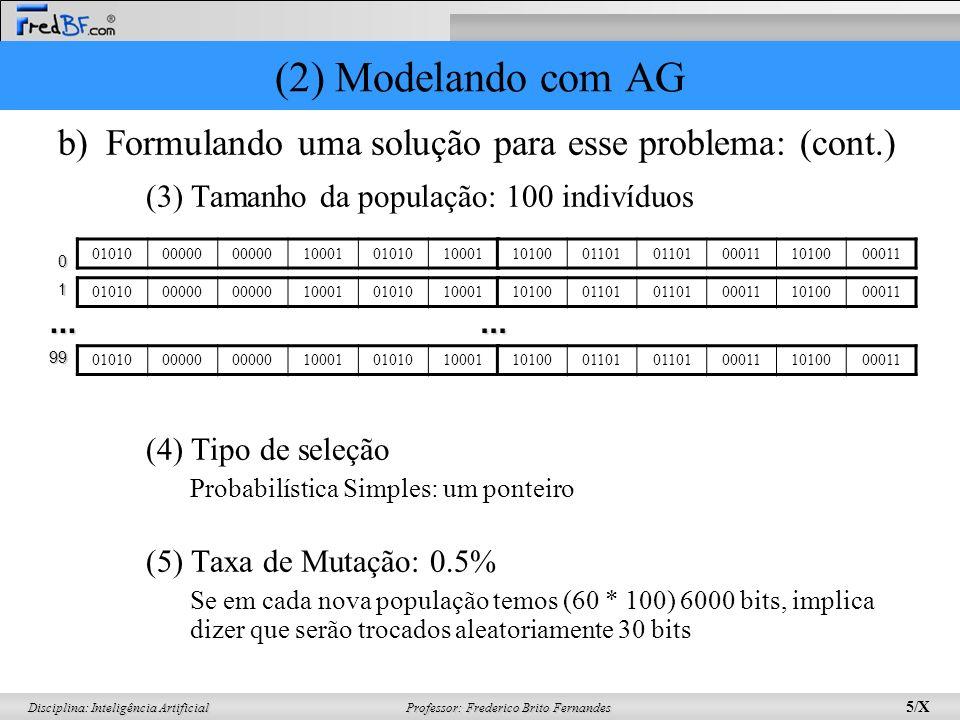Professor: Frederico Brito Fernandes 5/X Disciplina: Inteligência Artificial b)Formulando uma solução para esse problema: (cont.) (3) Tamanho da população: 100 indivíduos (4) Tipo de seleção Probabilística Simples: um ponteiro (5) Taxa de Mutação: 0.5% Se em cada nova população temos (60 * 100) 6000 bits, implica dizer que serão trocados aleatoriamente 30 bits 0101000000 100010101010001 1010001101 000111010000011 0101000000 1000101010100011010001101 000111010000011...