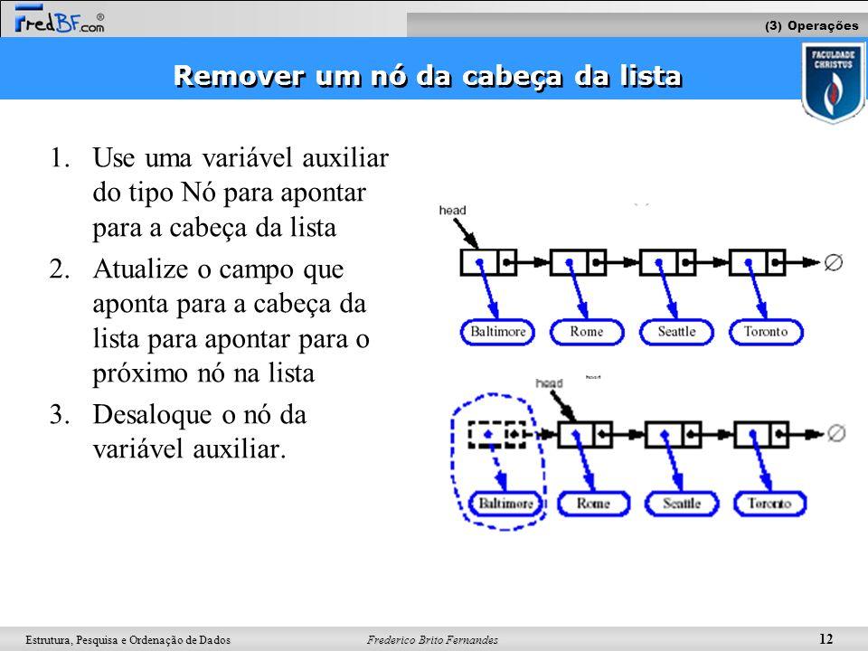 Frederico Brito Fernandes 12 Estrutura, Pesquisa e Ordenação de Dados Remover um nó da cabeça da lista 1.Use uma variável auxiliar do tipo Nó para apo