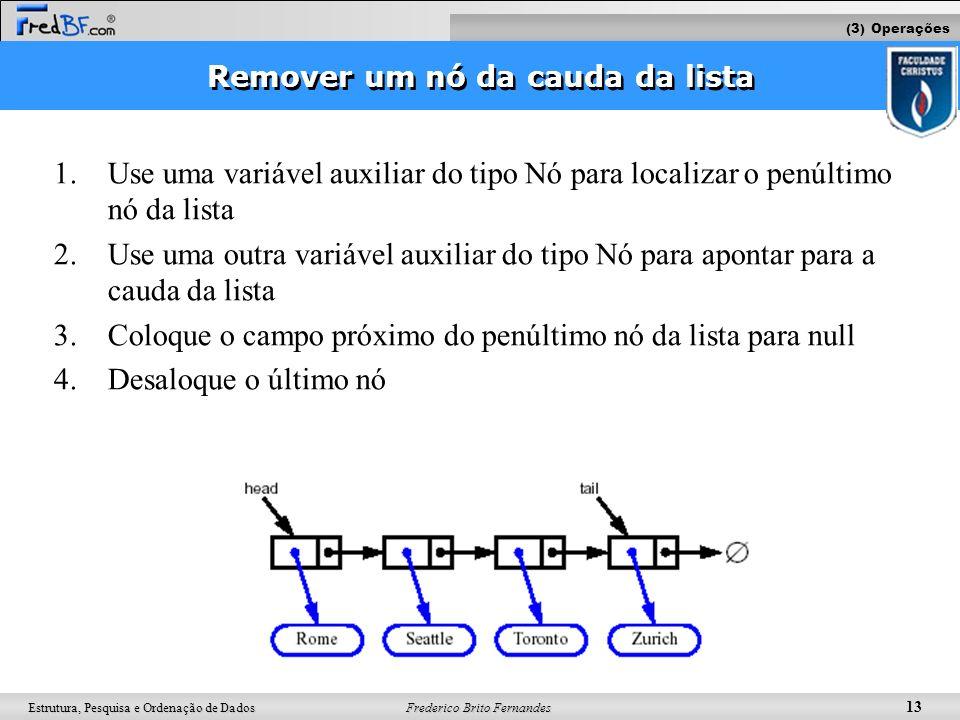 Frederico Brito Fernandes 13 Estrutura, Pesquisa e Ordenação de Dados 1.Use uma variável auxiliar do tipo Nó para localizar o penúltimo nó da lista 2.