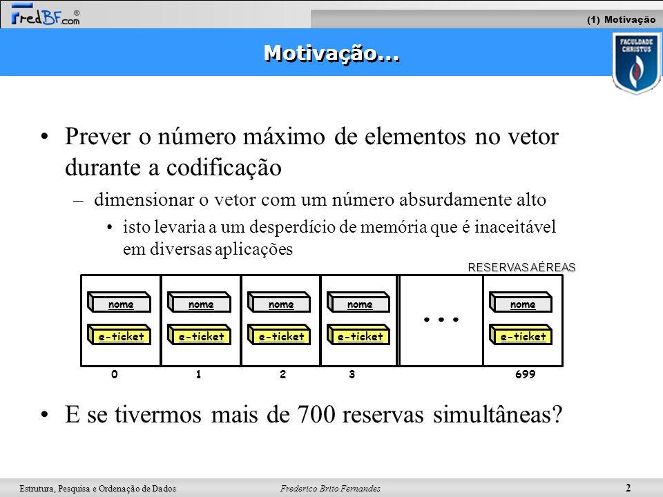 Frederico Brito Fernandes 3 Estrutura, Pesquisa e Ordenação de Dados Solução Algumas aplicações requerem a inserção/deleção constantes de elementos Solução: –Usar listas ligadas Dado Dado Dado Dado/ (1) Motivação