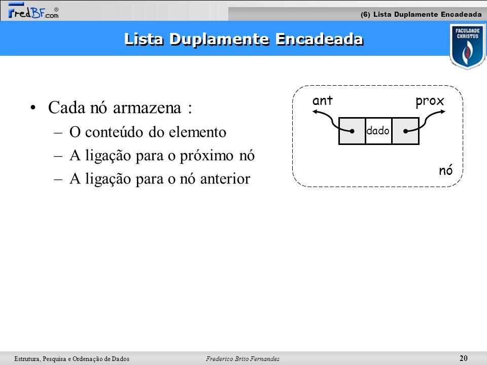 Frederico Brito Fernandes 20 Estrutura, Pesquisa e Ordenação de Dados Lista Duplamente Encadeada Cada nó armazena : –O conteúdo do elemento –A ligação