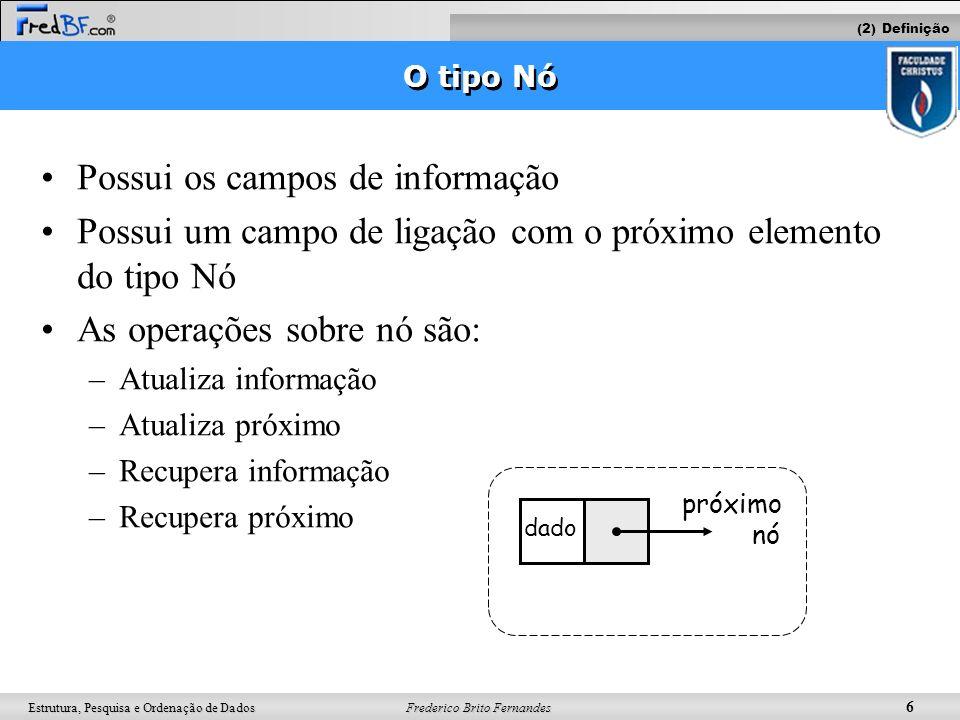 Frederico Brito Fernandes 7 Estrutura, Pesquisa e Ordenação de Dados Exemplo: Reserva Aérea Ex: #include typedef struct eReserva { char nome[60]; char e_ticket[20]; struct eReserva *prox; } tReserva; main(){ tReserva *cabeca, *segundoNo, *terceiroNo; cabeca = (tReserva *) malloc(sizeof(tReserva)); cabeca->prox = NULL; segundoNo = (tReserva *) malloc(sizeof(tReserva)); cabeca->prox = segundoNo; segundoNo->prox = NULL; terceiroNo = (tReserva *) malloc(sizeof(tReserva)); segundoNo->prox = aux; terceiroNo->prox = NULL; } nomee-ticketprox nomee-ticketproxcabeca nomee-ticketNULLsegundoNo struct eReserva nomee-ticketNULLterceiroNo tReserva (2) Definição