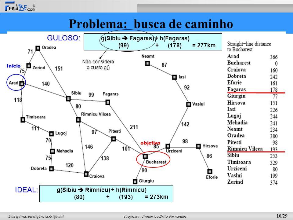 Professor: Frederico Brito Fernandes 10/29 Disciplina: Inteligência Artificial Problema: busca de caminho Início objetivo g(Sibiu Fagaras) + h(Fagaras