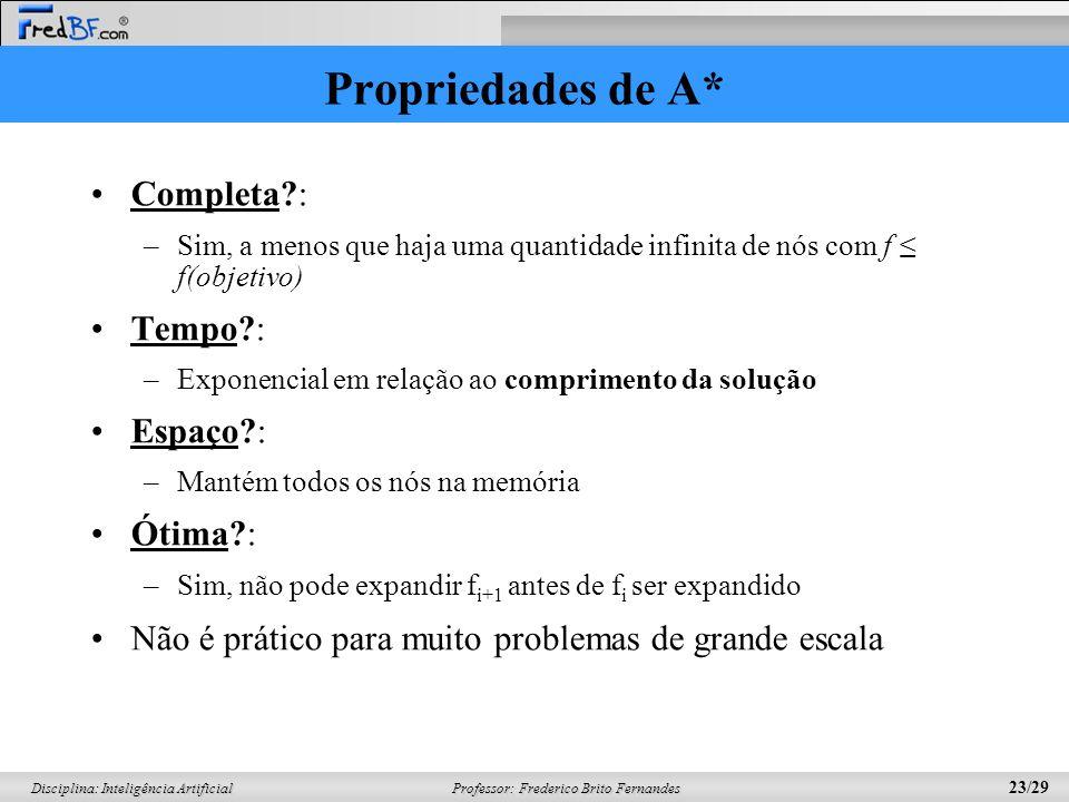 Professor: Frederico Brito Fernandes 23/29 Disciplina: Inteligência Artificial Propriedades de A* Completa?: –Sim, a menos que haja uma quantidade inf