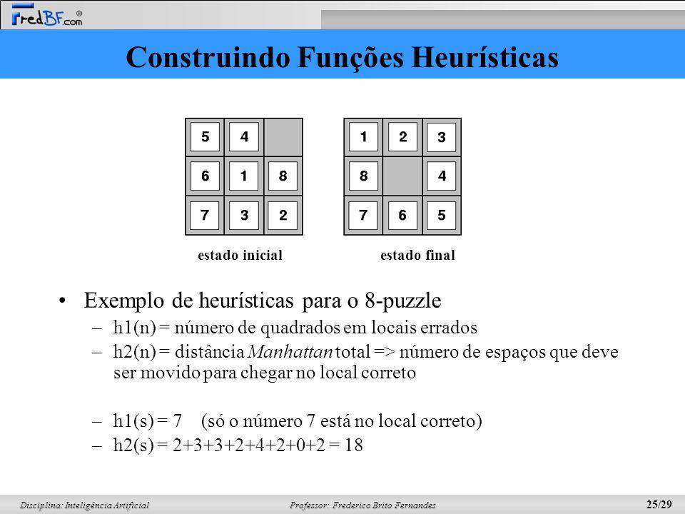 Professor: Frederico Brito Fernandes 25/29 Disciplina: Inteligência Artificial Construindo Funções Heurísticas Exemplo de heurísticas para o 8-puzzle