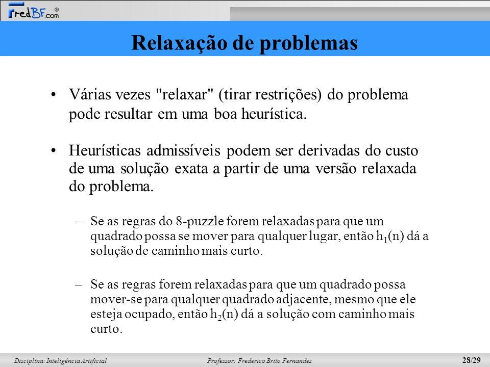 Professor: Frederico Brito Fernandes 28/29 Disciplina: Inteligência Artificial Relaxação de problemas Várias vezes