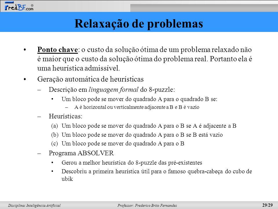 Professor: Frederico Brito Fernandes 29/29 Disciplina: Inteligência Artificial Relaxação de problemas Ponto chave: o custo da solução ótima de um prob