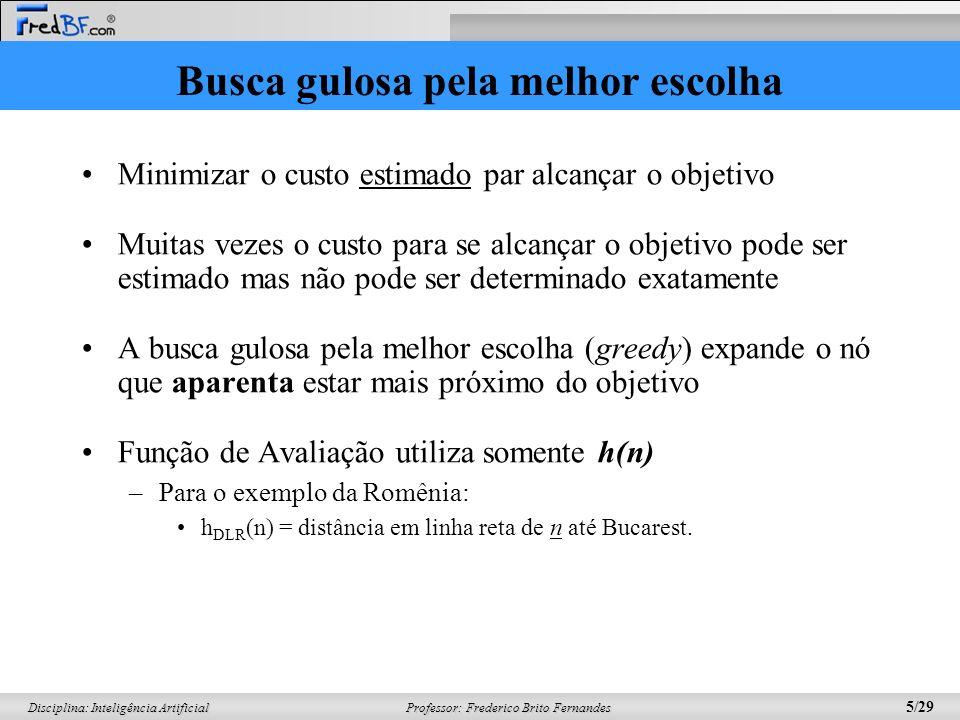 Professor: Frederico Brito Fernandes 16/29 Disciplina: Inteligência Artificial Exemplo de Busca A*