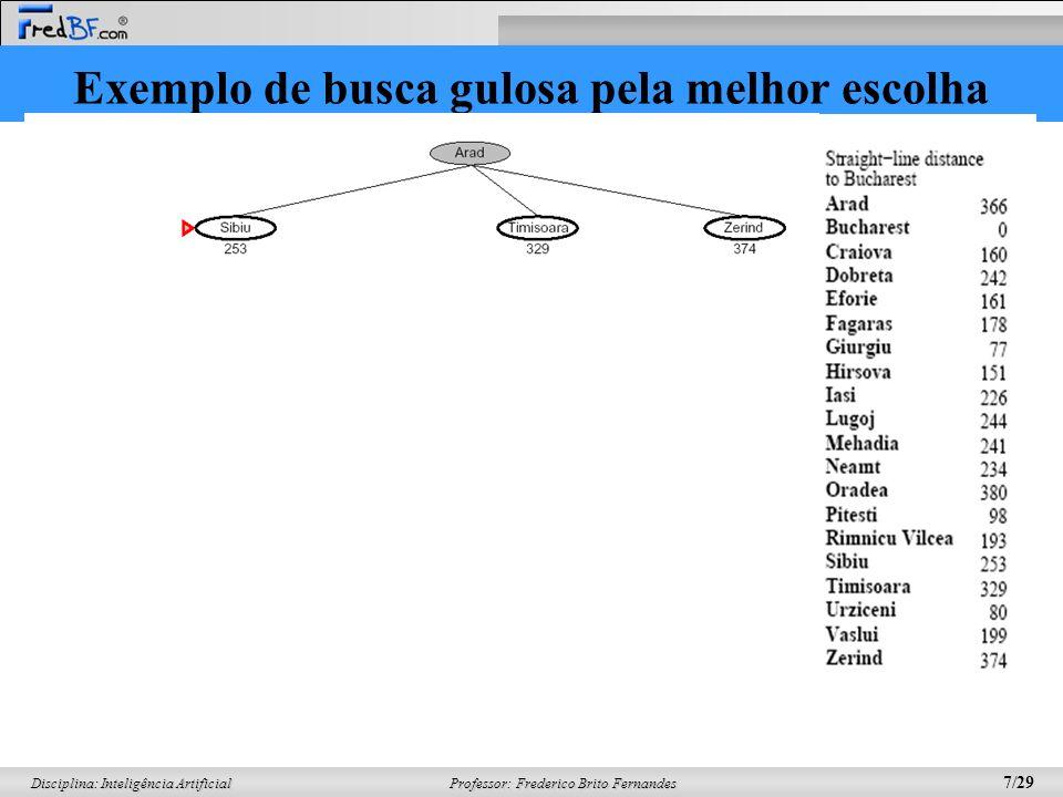 Professor: Frederico Brito Fernandes 8/29 Disciplina: Inteligência Artificial Exemplo de busca gulosa pela melhor escolha