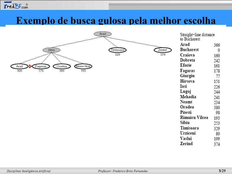 Professor: Frederico Brito Fernandes 9/29 Disciplina: Inteligência Artificial Exemplo de busca gulosa pela melhor escolha O solução encontrada não é a solução ótima.