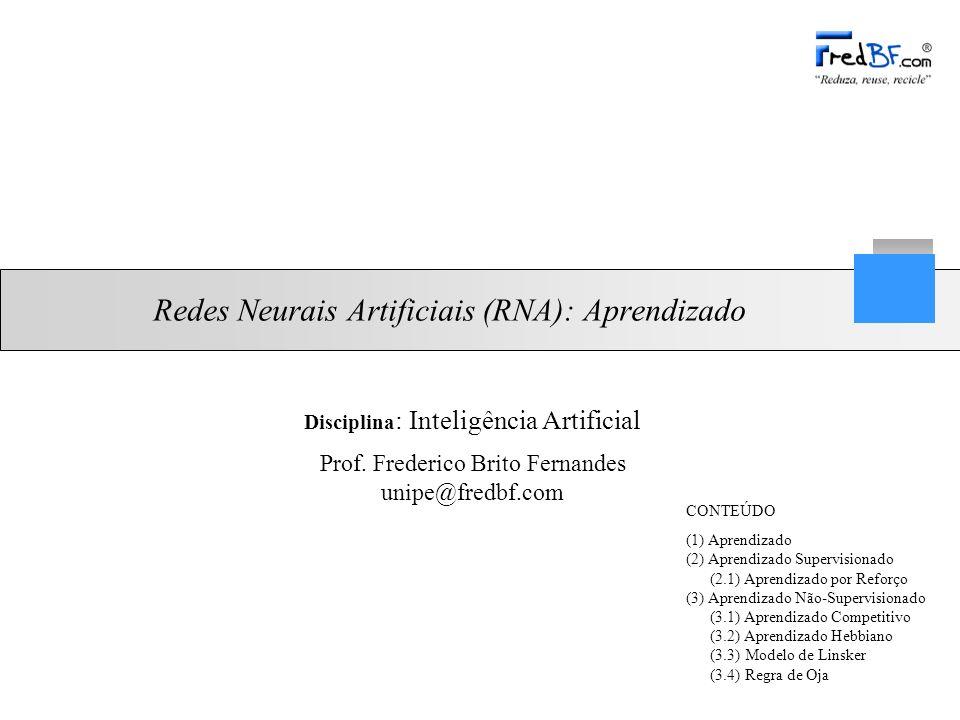 Professor: Frederico Brito Fernandes 2/27 Disciplina: Inteligência Artificial (1) Aprendizado RNAs aprendem por exemplos –Determinação da intensidade de conexões entre neurônios Algoritmo de aprendizado: –Conjunto de procedimentos bem definidos para adaptar os parâmetros de uma RNA, para que ela possa aprender.