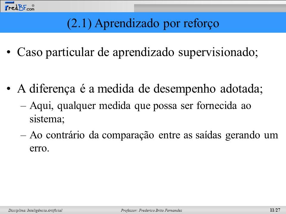 Professor: Frederico Brito Fernandes 11/27 Disciplina: Inteligência Artificial (2.1) Aprendizado por reforço Caso particular de aprendizado supervisio