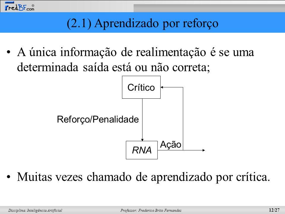 Professor: Frederico Brito Fernandes 12/27 Disciplina: Inteligência Artificial (2.1) Aprendizado por reforço A única informação de realimentação é se