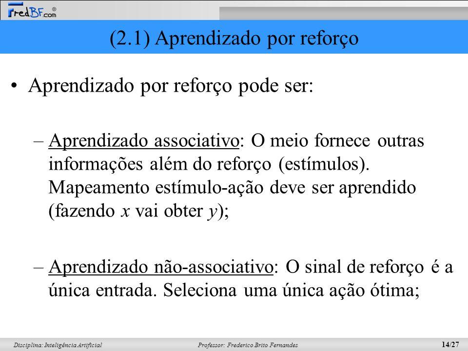 Professor: Frederico Brito Fernandes 14/27 Disciplina: Inteligência Artificial (2.1) Aprendizado por reforço Aprendizado por reforço pode ser: –Aprend
