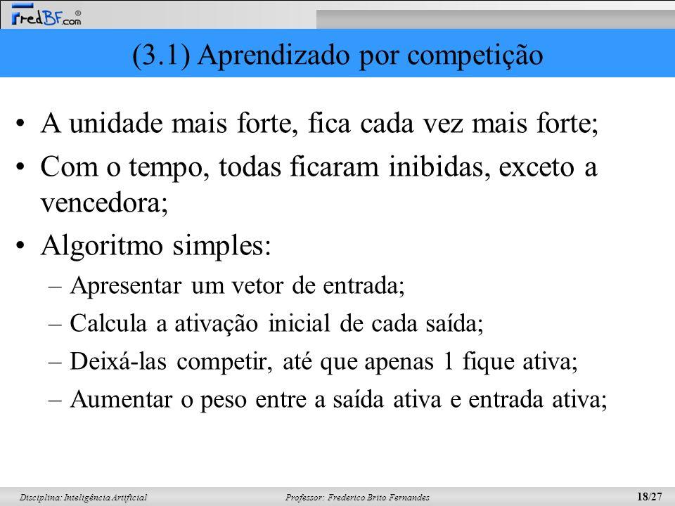 Professor: Frederico Brito Fernandes 18/27 Disciplina: Inteligência Artificial (3.1) Aprendizado por competição A unidade mais forte, fica cada vez ma