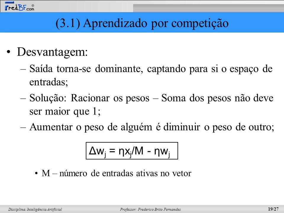 Professor: Frederico Brito Fernandes 19/27 Disciplina: Inteligência Artificial (3.1) Aprendizado por competição Desvantagem: –Saída torna-se dominante