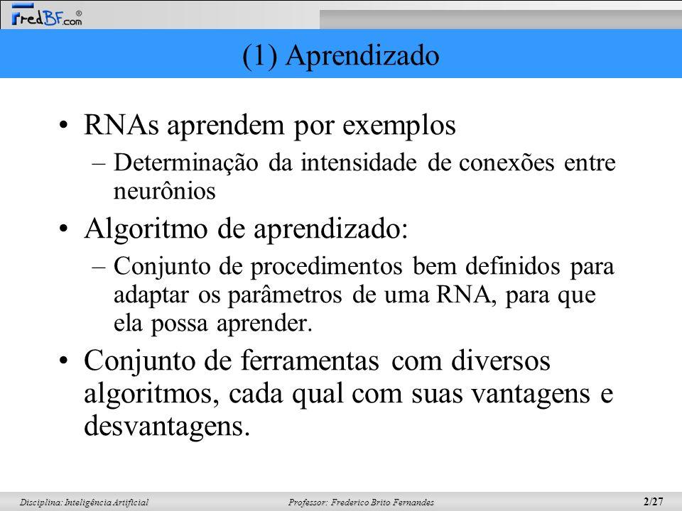 Professor: Frederico Brito Fernandes 3/27 Disciplina: Inteligência Artificial (1) Aprendizado Inicialmente, a RNA passa pela fase de aprendizado –Extrai informações de exemplos apresentados a rede; –Cria-se uma representação própria para o problema.
