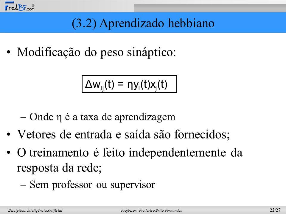 Professor: Frederico Brito Fernandes 22/27 Disciplina: Inteligência Artificial (3.2) Aprendizado hebbiano Modificação do peso sináptico: –Onde η é a t