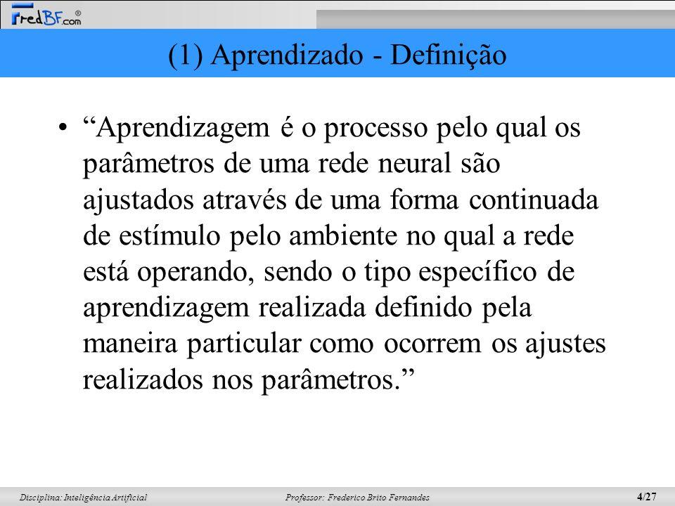 Professor: Frederico Brito Fernandes 4/27 Disciplina: Inteligência Artificial (1) Aprendizado - Definição Aprendizagem é o processo pelo qual os parâm