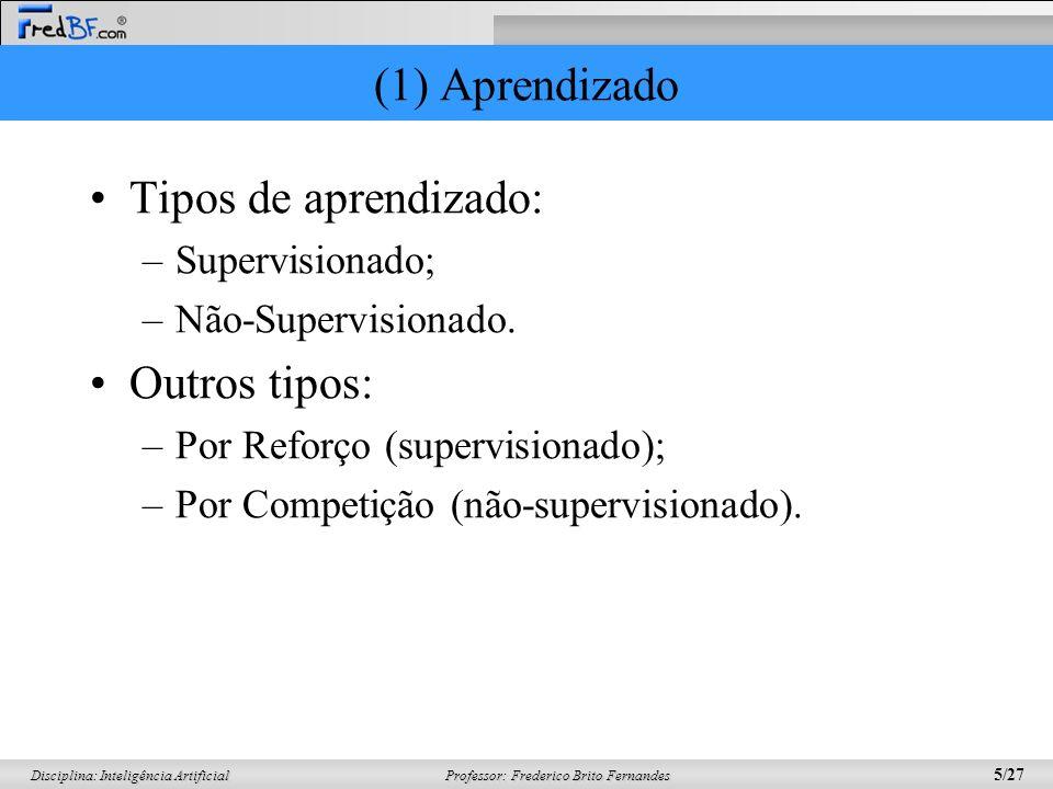 Professor: Frederico Brito Fernandes 5/27 Disciplina: Inteligência Artificial (1) Aprendizado Tipos de aprendizado: –Supervisionado; –Não-Supervisiona