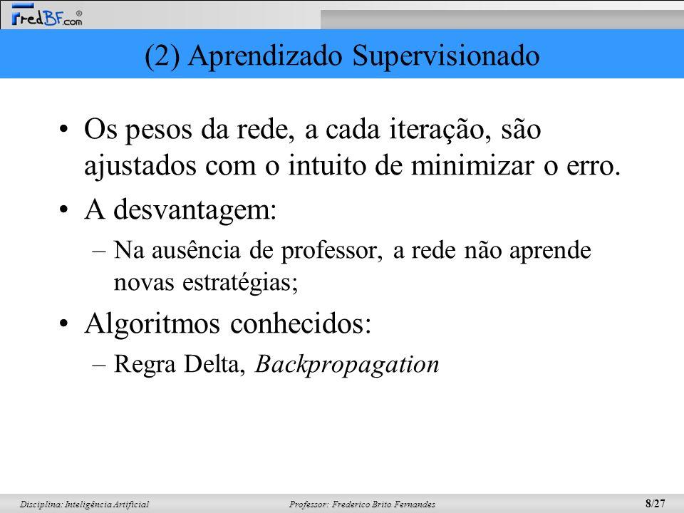 Professor: Frederico Brito Fernandes 9/27 Disciplina: Inteligência Artificial (2) Aprendizado Supervisionado Pode ser implementado de duas formas: off-line e on-line.