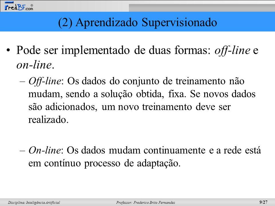 Professor: Frederico Brito Fernandes 9/27 Disciplina: Inteligência Artificial (2) Aprendizado Supervisionado Pode ser implementado de duas formas: off