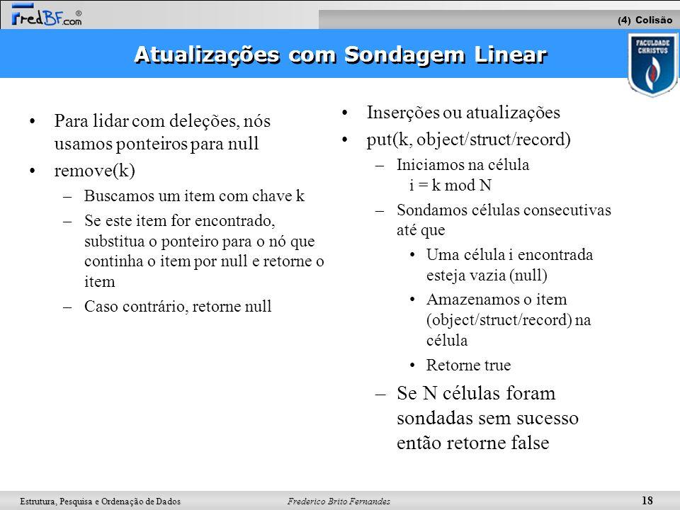 Frederico Brito Fernandes 18 Estrutura, Pesquisa e Ordenação de Dados Atualizações com Sondagem Linear Para lidar com deleções, nós usamos ponteiros p