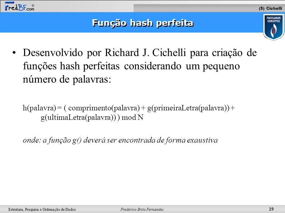 Frederico Brito Fernandes 19 Estrutura, Pesquisa e Ordenação de Dados Função hash perfeita Desenvolvido por Richard J. Cichelli para criação de funçõe