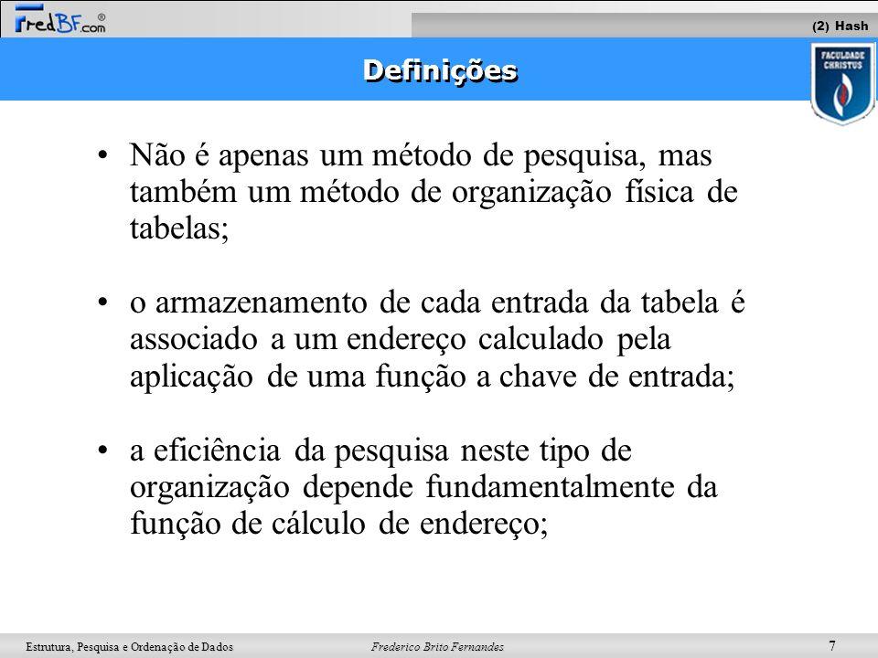 Frederico Brito Fernandes 7 Estrutura, Pesquisa e Ordenação de Dados Não é apenas um método de pesquisa, mas também um método de organização física de