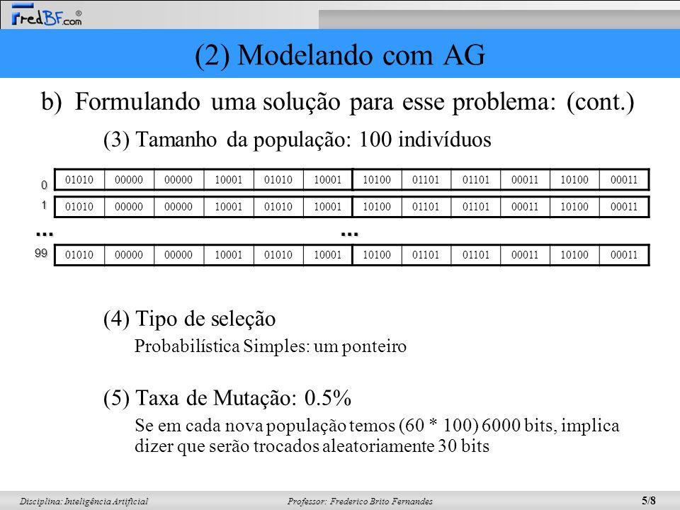 Professor: Frederico Brito Fernandes 5/8 Disciplina: Inteligência Artificial b)Formulando uma solução para esse problema: (cont.) (3) Tamanho da população: 100 indivíduos (4) Tipo de seleção Probabilística Simples: um ponteiro (5) Taxa de Mutação: 0.5% Se em cada nova população temos (60 * 100) 6000 bits, implica dizer que serão trocados aleatoriamente 30 bits 0101000000 100010101010001 1010001101 000111010000011 0101000000 1000101010100011010001101 000111010000011...