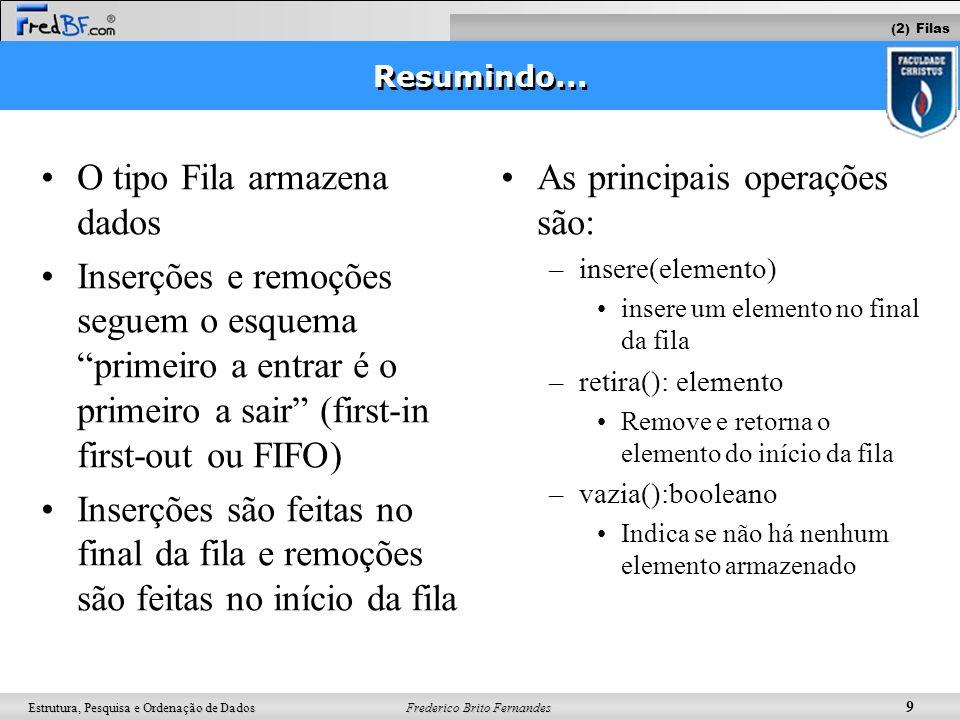 Frederico Brito Fernandes 10 Estrutura, Pesquisa e Ordenação de Dados insere(q, A); insere(q, B); insere(q, C); x = retira (q); insere(q, D); insere(q, E) Operações (2) Filas
