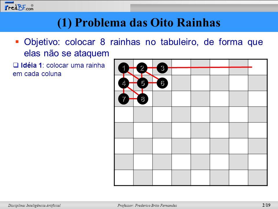 Professor: Frederico Brito Fernandes 13/19 Disciplina: Inteligência Artificial (1) Definição de um indivíduo (2) Geração aleatória da população (3)Seleção (4) Pareamento (5) Crossover (6) Mutação (7) Nova População Simulação do Algoritmo Genético Função Objetivo Seleção (3) (a) Função Objetivo (~%) F(A) = 23 24,4% F(B) = 24 25,5% F(C) = 21 22,3% F(D) = 26 27,7% (b) Seleção Escolhidos: A, D, B, A Duas abordagens: (1) Seleção Probabilística Simples: um ponteiro (2) Amostragem Universal Estocástica: n ponteiros (3) Algoritmo Genético: 8 rainhas
