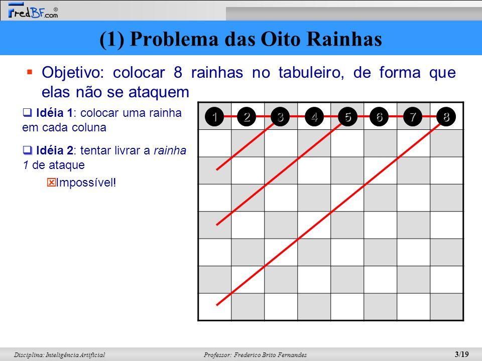 Professor: Frederico Brito Fernandes 3/19 Disciplina: Inteligência Artificial Objetivo: colocar 8 rainhas no tabuleiro, de forma que elas não se ataqu