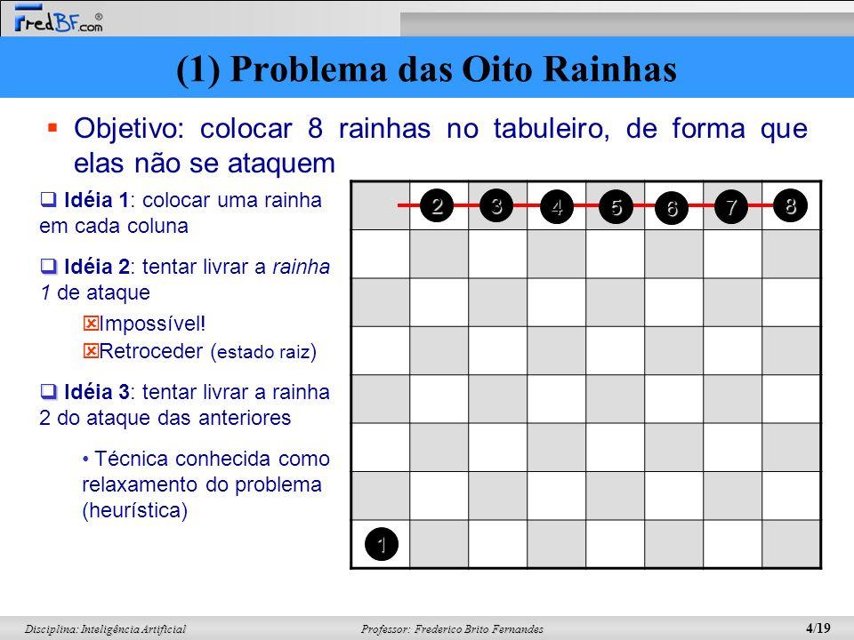 Professor: Frederico Brito Fernandes 4/19 Disciplina: Inteligência Artificial Objetivo: colocar 8 rainhas no tabuleiro, de forma que elas não se ataqu