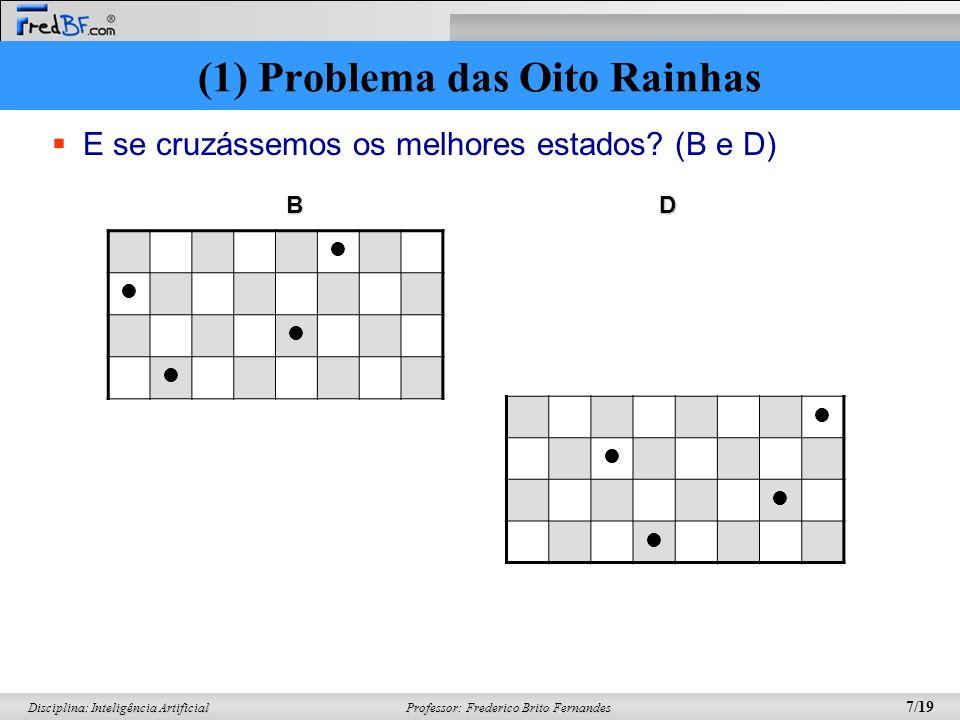 Professor: Frederico Brito Fernandes 7/19 Disciplina: Inteligência Artificial E se cruzássemos os melhores estados? (B e D) BD (1) Problema das Oito R