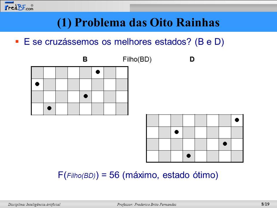 Professor: Frederico Brito Fernandes 8/19 Disciplina: Inteligência Artificial E se cruzássemos os melhores estados? (B e D) DB F( Filho(BD) ) = 56 (má