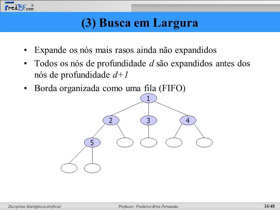 Professor: Frederico Brito Fernandes 16/48 Disciplina: Inteligência Artificial (3) Busca em Largura Expande os nós mais rasos ainda não expandidos Tod