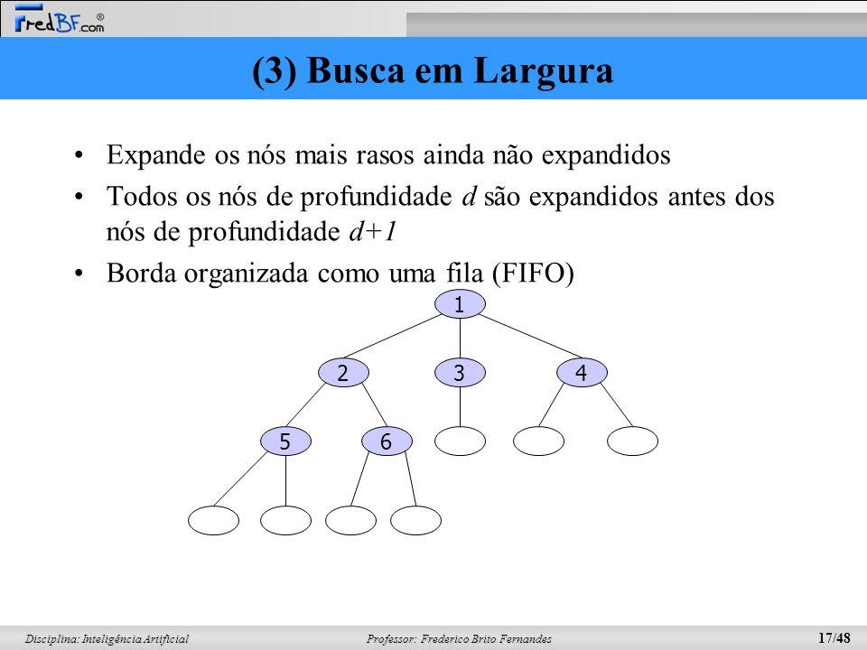 Professor: Frederico Brito Fernandes 17/48 Disciplina: Inteligência Artificial (3) Busca em Largura Expande os nós mais rasos ainda não expandidos Tod