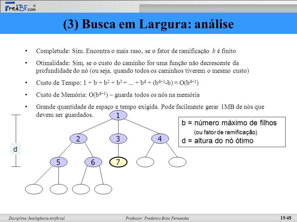 Professor: Frederico Brito Fernandes 19/48 Disciplina: Inteligência Artificial (3) Busca em Largura: análise Completude: Sim. Encontra o mais raso, se