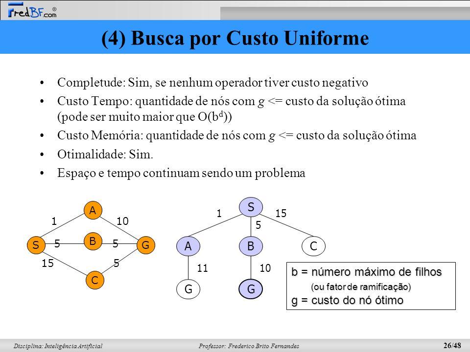 Professor: Frederico Brito Fernandes 26/48 Disciplina: Inteligência Artificial (4) Busca por Custo Uniforme Completude: Sim, se nenhum operador tiver
