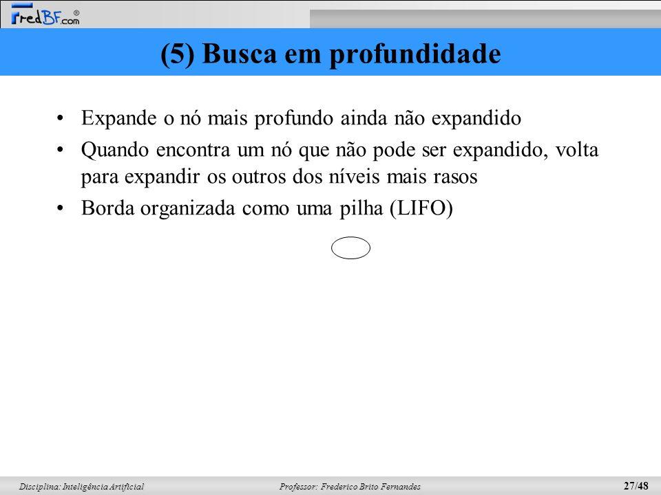 Professor: Frederico Brito Fernandes 27/48 Disciplina: Inteligência Artificial (5) Busca em profundidade Expande o nó mais profundo ainda não expandid