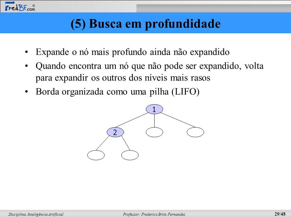 Professor: Frederico Brito Fernandes 29/48 Disciplina: Inteligência Artificial (5) Busca em profundidade Expande o nó mais profundo ainda não expandid