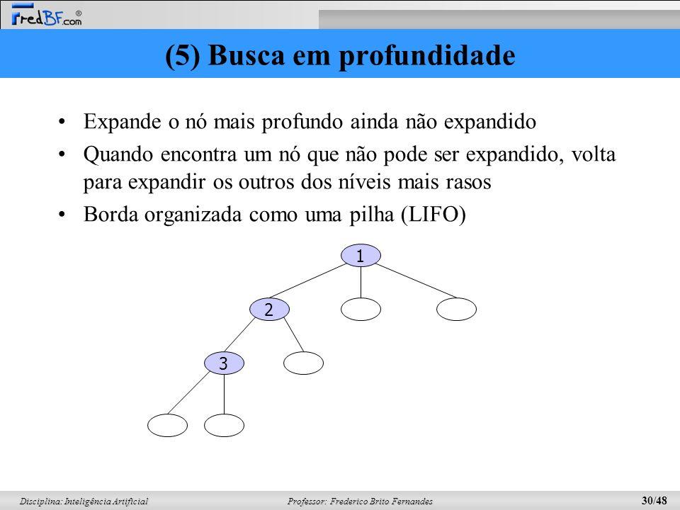 Professor: Frederico Brito Fernandes 30/48 Disciplina: Inteligência Artificial (5) Busca em profundidade Expande o nó mais profundo ainda não expandid
