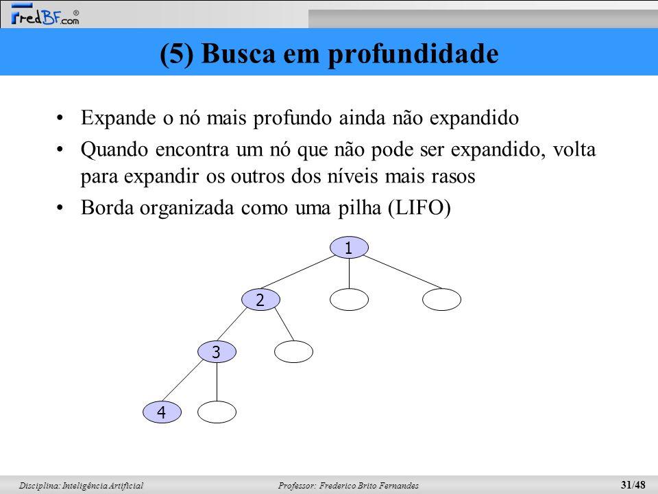 Professor: Frederico Brito Fernandes 31/48 Disciplina: Inteligência Artificial (5) Busca em profundidade Expande o nó mais profundo ainda não expandid