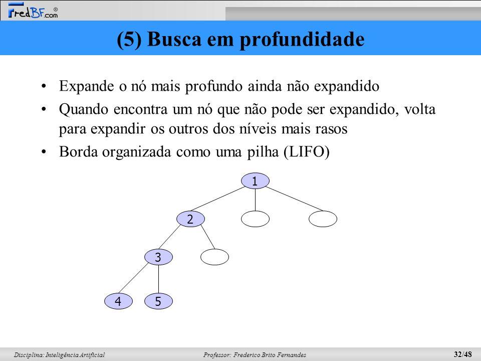 Professor: Frederico Brito Fernandes 32/48 Disciplina: Inteligência Artificial (5) Busca em profundidade Expande o nó mais profundo ainda não expandido Quando encontra um nó que não pode ser expandido, volta para expandir os outros dos níveis mais rasos Borda organizada como uma pilha (LIFO) 1 2 3 54