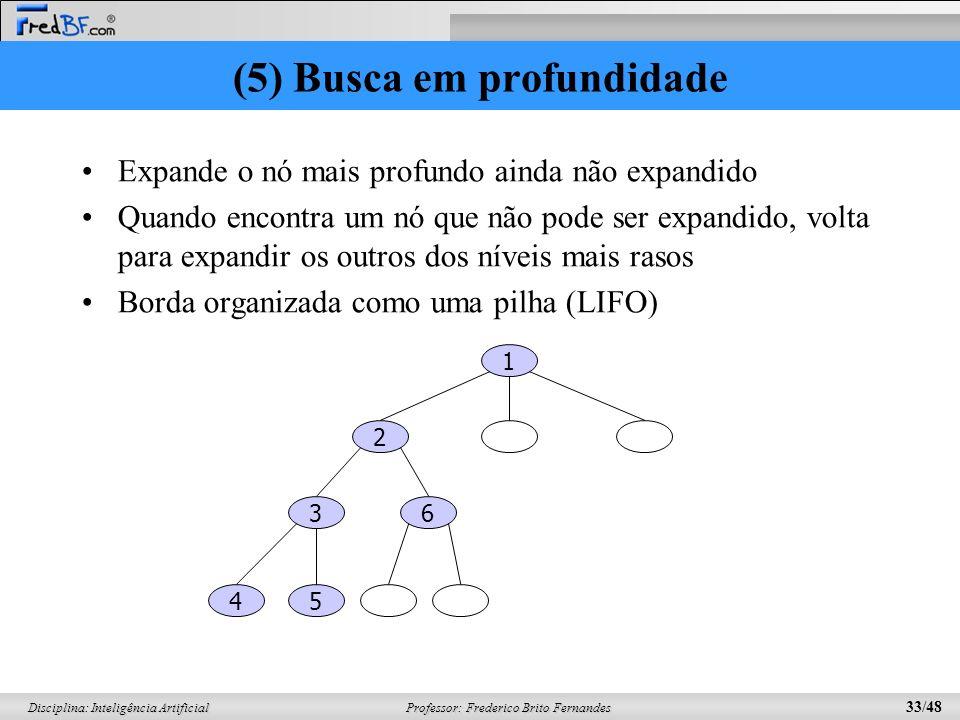 Professor: Frederico Brito Fernandes 33/48 Disciplina: Inteligência Artificial (5) Busca em profundidade Expande o nó mais profundo ainda não expandid
