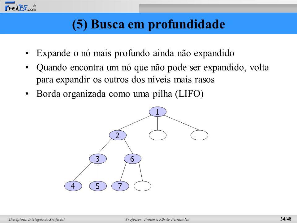 Professor: Frederico Brito Fernandes 34/48 Disciplina: Inteligência Artificial (5) Busca em profundidade Expande o nó mais profundo ainda não expandid