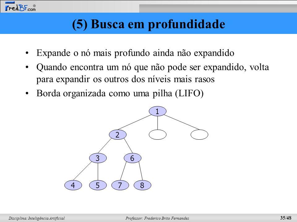 Professor: Frederico Brito Fernandes 35/48 Disciplina: Inteligência Artificial (5) Busca em profundidade Expande o nó mais profundo ainda não expandido Quando encontra um nó que não pode ser expandido, volta para expandir os outros dos níveis mais rasos Borda organizada como uma pilha (LIFO) 1 2 36 5874